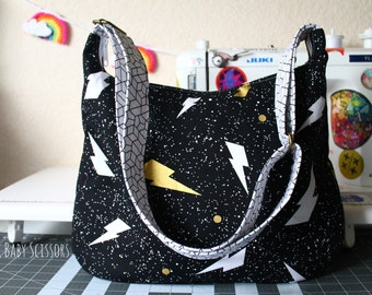True Love Lightning Bolts Hobo Bag with Pony Boy lining