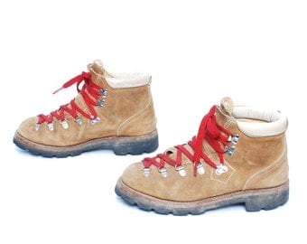 mens size 8.5 HIKING tan leather 80s 90s RUSTIC made in USA