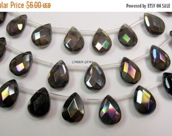 30% OFF SALE Smoky Quartz Fire Polished Faceted Teardrop 10mmx14mm, 6 pcs