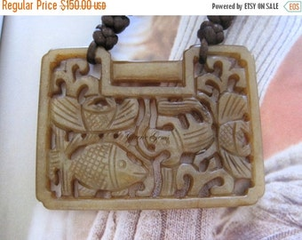 20% OFF ON SALE Hand Knotted Cow Bone with Antique Carved Jade Necklace