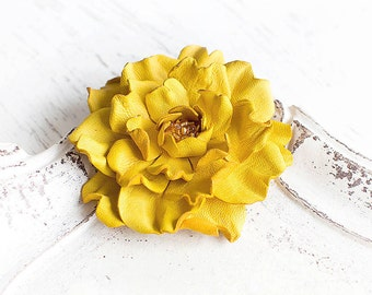 Bright yellow leather flower brooch