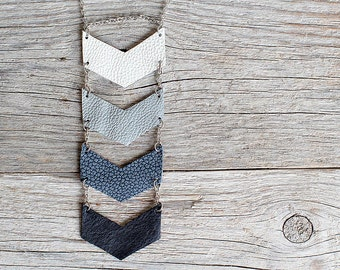 Black and grey leather geometric necklace