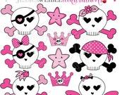 SALE Sweet Skulls Cute Digital Clipart - Commercial Use OK - Pink Skull Crossbones Clipart, Girls Skull & Crossbones Graphics
