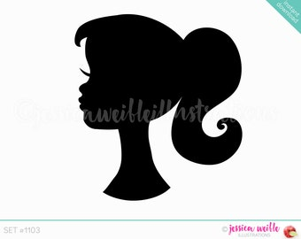 Instant Download Cute Ponytail Girl Silhouette Digital Clipart, Cute Girl Clip art, Girl Head Silhouette, Pretty Girl Illustration, #1103