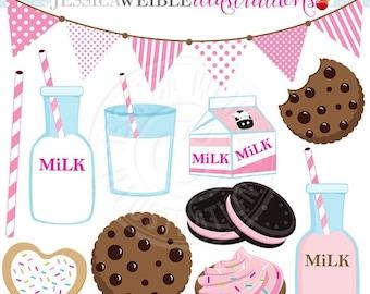 SALE PINK Milk & Cookies Cute Digital Clip Art - Commercial Use OK - Strawberry Milk Graphics, Cookies Milk Clipart, Milk Carton, Pink Milk