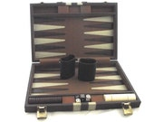 Vintage Backgammon Set, Full Size Game in Brown Leatherette Case, Damaged, Please Read