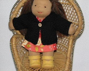 Waldorf Doll Sweater for 10 inch Doll in Black Wool RTG