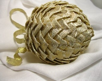 cream and gold lace unique ornamnet, Christmas keepsake ornament,