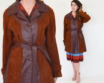 70s Leather Coat | Brown Leather Trench Coat | Long Suede Jacket, Medium