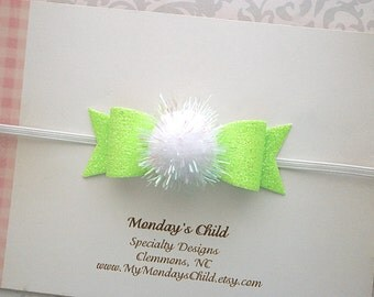 Tinkerbell Bow, Tinkerbell Headband, Fairy Bow, Fairy Bow Headband, Mini Bow Headband, Glitter Bow, Baby Headband, Toddler Headband