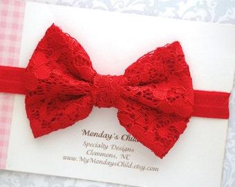 Red Lace Bow Headband, Baby Bow Headband, Lace Bow Headband, Red Baby Bow, Baby Bows, Baby Headband, Toddler Headband, Toddler Bow