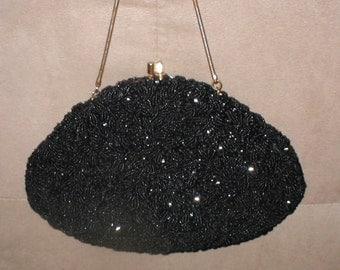 1940's  Vintage BLACK Beaded Evening Purse