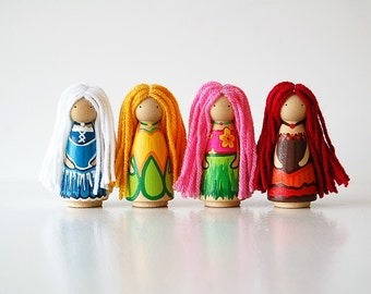 The 4 Seasons - Wooden Peg Doll Set - Summer Winter Fall Spring - Educational Toy