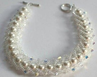 Crystal bracelet with white Swarovski pearls and crystals