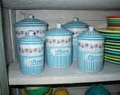 TDF French Enamel Kitchen Canister Set Roses Garland Turquoise/Aqua Stripes Signed and Numbered BB Freres Austria French Country Beautiful