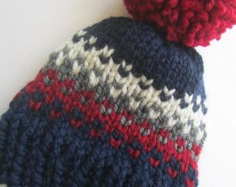 Navy Blue Fair Isle Knit Hat, Fair Isle Hat, Knit Hat, Women's Knit Hat, Men's Knit Hat, Hand Knit Hat, Knit Hat, Chunky Knit Hat
