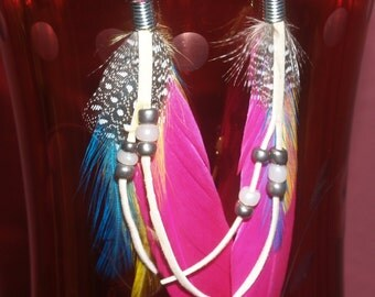 Spotted guinea, pheasant and bright pink, turquoise and yellow feather earrings, w/ glass beads.