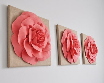 Coral Wall Art, Pink Coral Print, Coral Burlap Wall Art, Coral Home Decor, Coral Print, Set of three