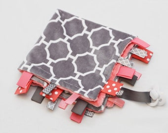 Baby Ribbon Tag Blanket - Minky Binky Blankie - Grey Geometric with Coral