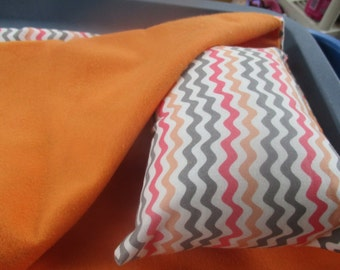 18 Inch Doll Sleeping Bag, orange and pink doll bedding for doll like American Girl