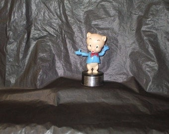Vintage KOHNER Porky Pig Push Puppet Toy