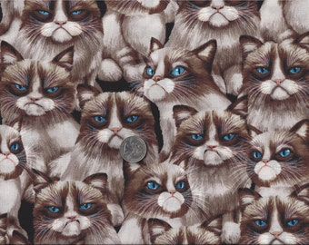 Grumpy Cat I Spy Internet Meme Cats Fabric By the Fat Quarter