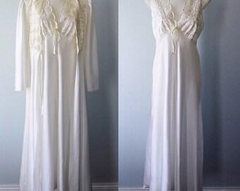 Vintage White Peignoir Set, Wedding, Bridal, Silfra, Vintage Peignoir, White Peignoirs, 1990s Peignoir Set