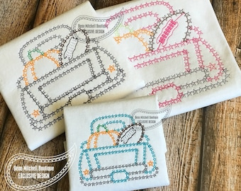 Fall truck with pumpkin and football bean stitch embroidery design