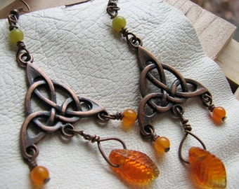 Celtic knot earrings | orange | glass leaves | trinity | autumn