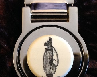 Money Clip-Polymer Reproduction Scrimshaw-Golf Bag