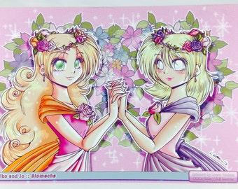BIOMECHA Series - Flower Crown Sisters Poster Print