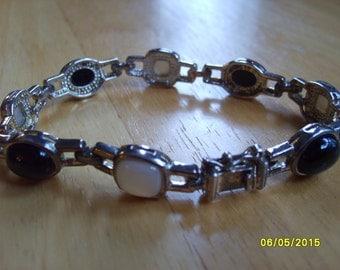 Sterling Silver Bracelet Black and White; Black and White Bracelet