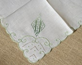 Vintage Monogrammed Hankie Green Initial H Embroidered