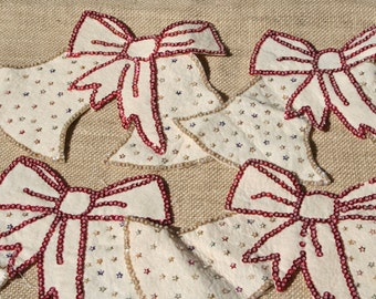 Vintage Felt Christmas Bells with Sequins, Set of 4