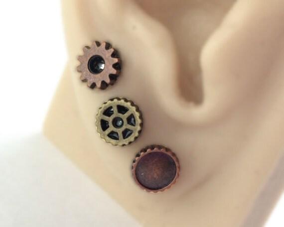 Triple Piercing Gear Stud Earrings