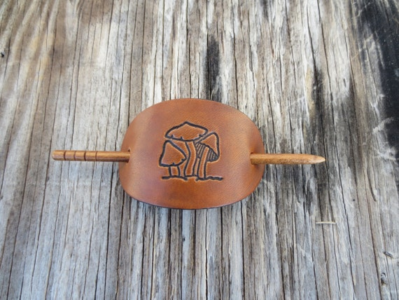 Leather Stick Barrette with Mushrooms