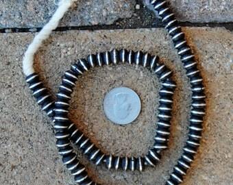 Ebony Wood w/Inlaid Coin Silver Beads (5x8mm)