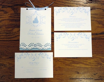 """Castle Wedding Invitation Booklet 5"""" by 7"""""""