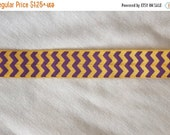 ON SALE 10% off 1, 4, or 10 yards purple yellow Gold Chevron print shiny baby headband DIY Hair Ties Foe stretch foldover fold over elastic