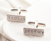 Personalized Rectangle Sterling Silver Cuff links, Wedding , Father of the Bride or Groom Cufflinks , Personalized with your custom words