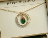 30th birthday gift for her, emerald necklace, new mother jewelry, May birthstone jewellery, new mom gift for women  - Lilia