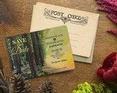 Destination Save the Date, Save the Date, Save the Date Postcard, Rustic Wedding Invitation, Redwood Tree,  Forest Wedding, Sequoia