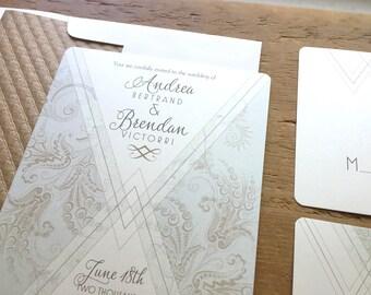 Art Deco Wedding Invitation, Wedding Invitation, Blush Wedding Invitations, boho wedding invitation, Save the Dates,  French Swirl