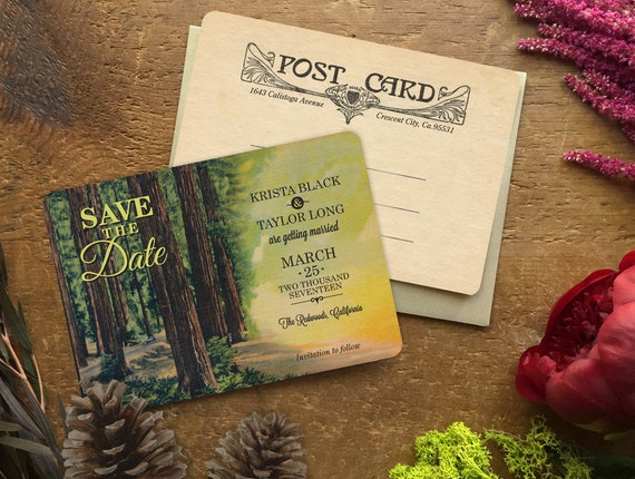 Destination Save the Date, Save the Date, Save the Date Postcard, Rustic Wedding Invitation, Redwood Tree,  Forest Wedding, Sequoia