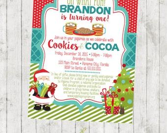 Cookies and Cocoa Christmas Birthday Invitation - Pajamas - Santa - Tree - Digital File Available