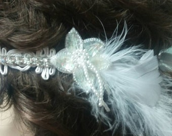 Flapper Veil Alternative Bridal Headpiece White Rhinestone Headband with Ostrich Plume