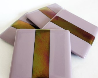 FUSED GLASS COASTERS - Lilac Metallic Drink Coasters, Under 25, Fused Glass, Wedding Gift, Bridal Shower Gift, Elegant Coaster, Gift For Her