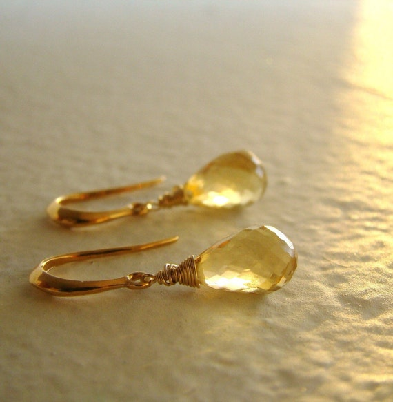 Sale Citrine Stone earrings -Gold Sunshine - October birthstone