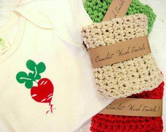 Veggie Colors crocheted Wash Towels, washcloths, handmade, Set of 3, Three Towels, Cotton, Eco Friendly, Beet, Artichoke, Whey, Scrubbies