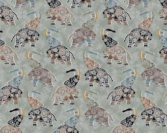 Elephants India Style on Taupe - Bombay by Studio 1500 for Andover Fabrics - Full or Half Yard Black Gray Brown Elephants on Floral Taupe